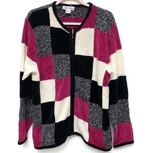 Dress Barn Color Block Zip Up Sweater